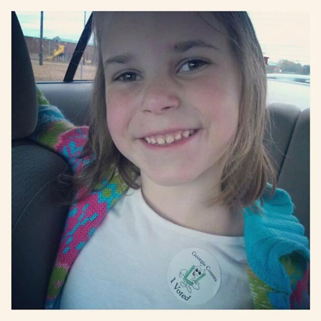 My baby is so proud she voted at school today! - @lrhodes1221, via Twitter