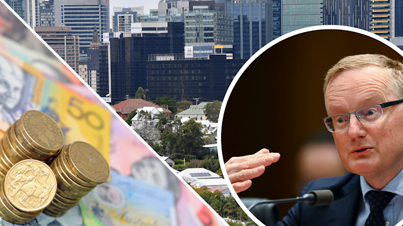 Pictured: Reserve Bank of Australia governor Philip Lowe, Australian property and Australian cash. Images: AAP