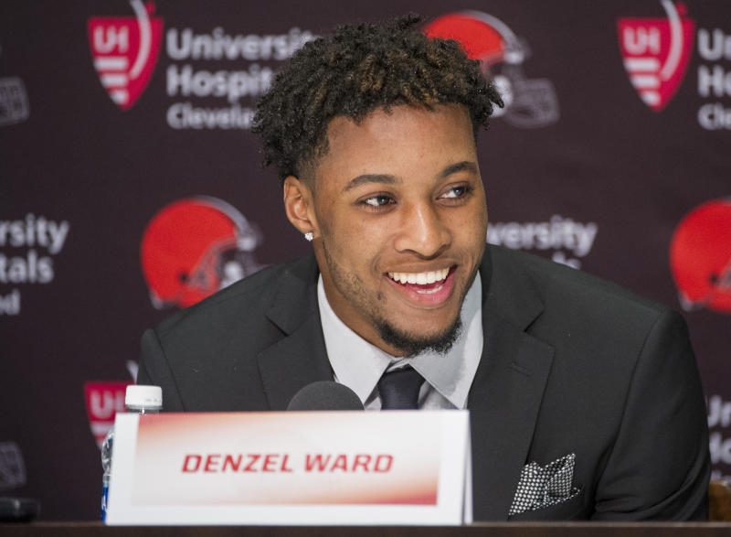 Cleveland Browns first-round draft pick Denzel Ward answers a question during a news conference after he was selected. (AP)