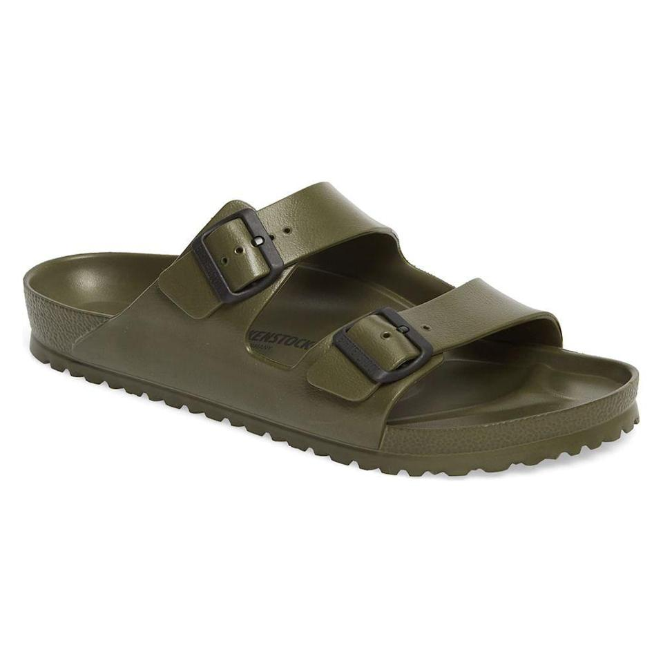 """<p><strong>BIRKENSTOCK</strong></p><p>nordstrom.com</p><p><strong>$44.95</strong></p><p><a href=""""https://go.redirectingat.com?id=74968X1596630&url=https%3A%2F%2Fshop.nordstrom.com%2Fs%2Fbirkenstock-essentials-arizona-waterproof-slide-sandal-men%2F3849422&sref=https%3A%2F%2Fwww.menshealth.com%2Fstyle%2Fg21753744%2Fbeach-essentials%2F"""" rel=""""nofollow noopener"""" target=""""_blank"""" data-ylk=""""slk:BUY IT HERE"""" class=""""link rapid-noclick-resp"""">BUY IT HERE</a></p><p>If you didn't hear, <a href=""""https://www.menshealth.com/style/a32619231/jason-momoa-mens-birkenstock-sandals-clogs-cool/"""" rel=""""nofollow noopener"""" target=""""_blank"""" data-ylk=""""slk:Birkenstocks are the hip sandal of the moment for effortlessly cool style"""" class=""""link rapid-noclick-resp"""">Birkenstocks are the hip sandal of the moment for effortlessly cool style</a>. Plus, these waterproof slides provide great comfort and support with contoured, shock-absorbing footbeds. </p>"""