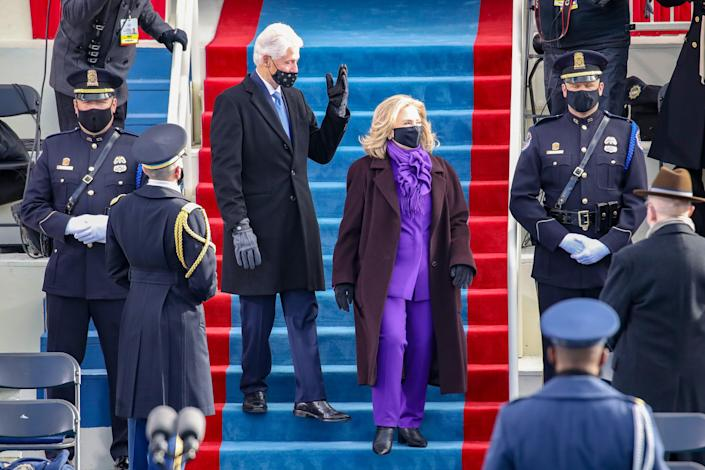 Former President Bill Clinton arrives with former Democratic presidential nominee Hillary Clinton for the inauguration of President-elect Joe Biden on the West Front of the U.S. Capitol on Jan. 20, 2021, in Washington