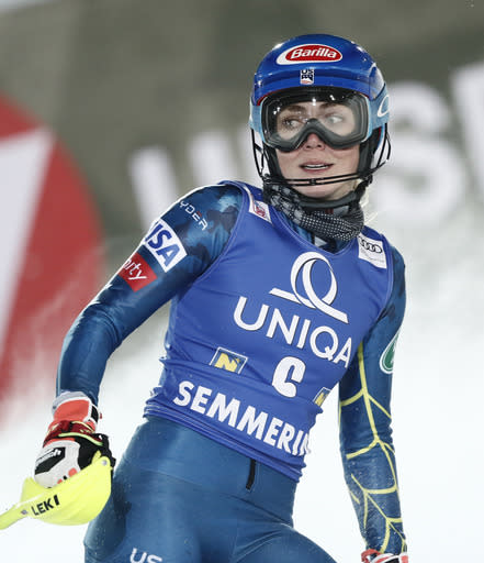 United States' Mikaela Shiffrin gets to the finish area after completing an alpine ski, women's World Cup slalom, in Semmering, Austria, Tuesday, Dec. 29, 2020. (AP Photo/Gabriele Facciotti)