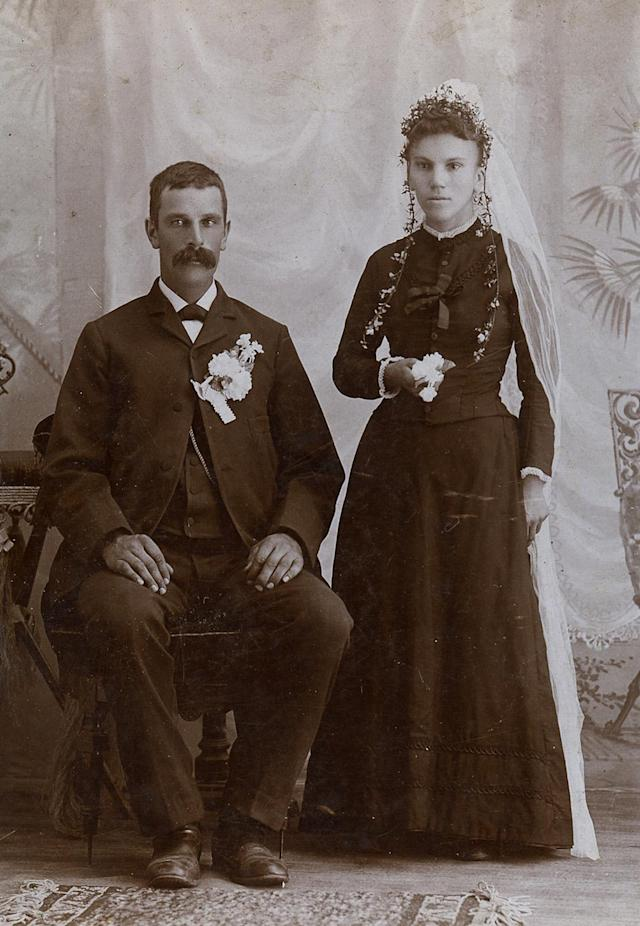 "<p>It's a genre that was popularized by Queen Victoria and Prince Albert, who married in 1840, with Victoria wearing a white dress. (Pictured: Vintage wedding portraits from ""I Do, I Do"" exhibit) </p>"