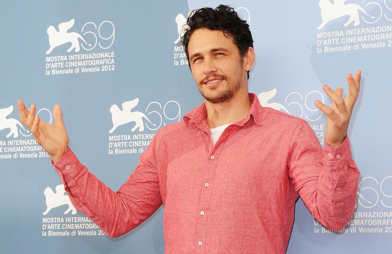 "VENICE, ITALY - SEPTEMBER 05:  Actor James Franco attends the ""Spring Breakers"" Photocall during the 69th Venice Film Festival at the Palazzo del Casino  on September 5, 2012 in Venice, Italy.  (Photo by Pascal Le Segretain/Getty Images)"