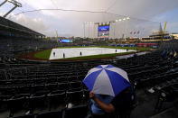 Fans wait under an umbrella during a rain delay in the second inning of a baseball game between the Kansas City Royals and the Milwaukee Brewers Tuesday, May 18, 2021, in Kansas City, Mo. (AP Photo/Charlie Riedel)