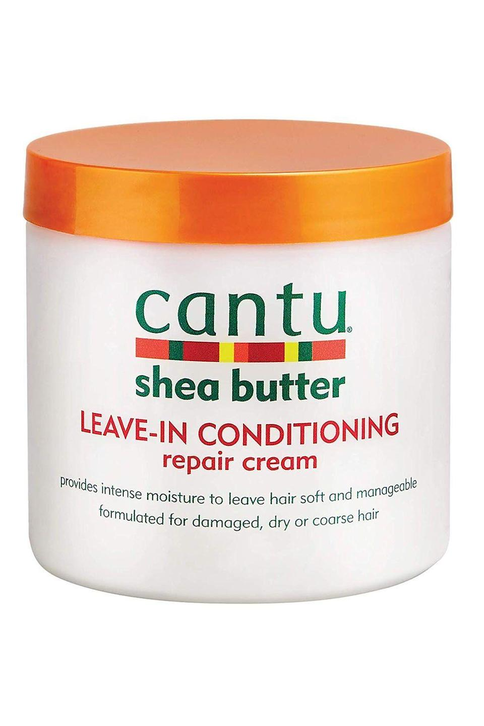 """<p><strong>Cantu</strong></p><p>amazon.com</p><p><strong>$5.24</strong></p><p><a href=""""https://www.amazon.com/dp/B00449W12S?tag=syn-yahoo-20&ascsubtag=%5Bartid%7C10049.g.33904669%5Bsrc%7Cyahoo-us"""" rel=""""nofollow noopener"""" target=""""_blank"""" data-ylk=""""slk:Shop Now"""" class=""""link rapid-noclick-resp"""">Shop Now</a></p><p>Anyone with natural hair knows that you can find so many gems in the <a href=""""https://www.cosmopolitan.com/style-beauty/beauty/g25019634/best-drugstore-shampoo-brands/"""" rel=""""nofollow noopener"""" target=""""_blank"""" data-ylk=""""slk:drugstore"""" class=""""link rapid-noclick-resp"""">drugstore</a> aisle, and leave-in conditioner is no exception. This <strong>shea butter-infused formula is deeply hydrating,</strong> quenching any thirst, while also giving you more manageable curls.</p>"""