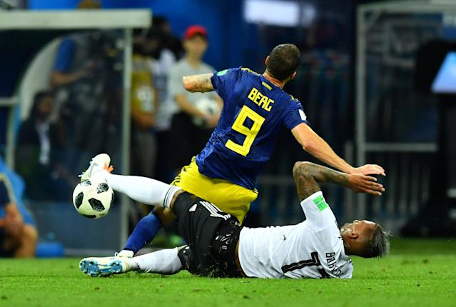 Soccer Football - World Cup - Group F - Germany vs Sweden - Fisht Stadium, Sochi, Russia - June 23, 2018 Germany's Jerome Boateng fouls Sweden's Marcus Berg leading to a second yellow card and a red card REUTERS/Dylan Martinez