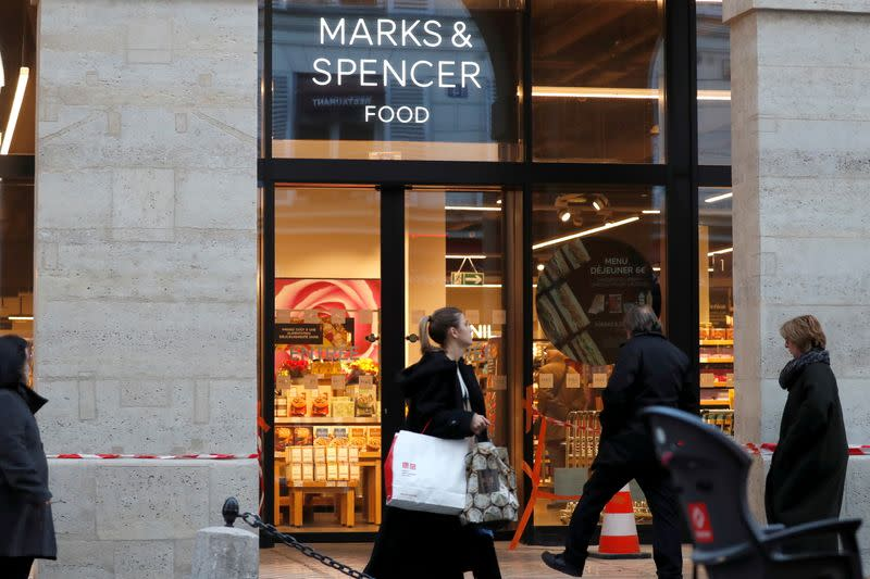 FILE PHOTO: The logo of Marks & Spencer is seen in front of a store in Paris