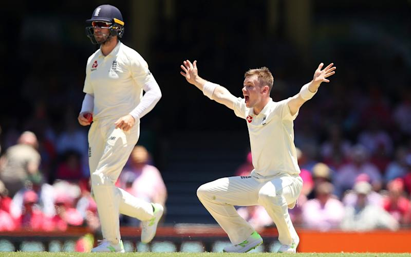 Mason Crane of England appeals for the wicket of Usman Khawaja - GETTY IMAGES