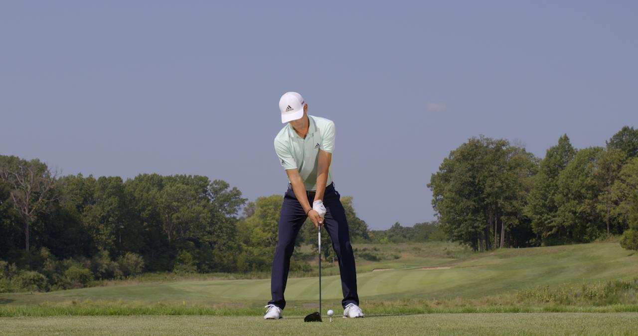 """<p><strong>POISED FOR POWER</strong></p> <p>Joaquin Niemann has a wide stance and a strong left-hand grip, two adjustments that lead to big drives, says instructor Jim McLean: """"And his hands and head are behind the ball. This is a setup that helps produce powerful drives because you can use your body weight to put more into the hit.""""</p>"""