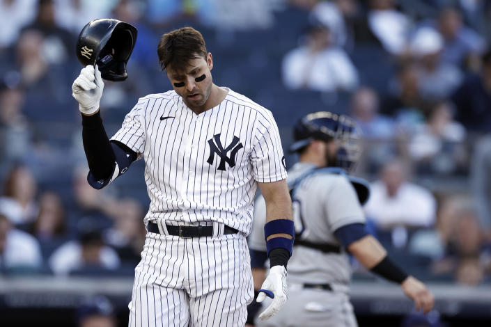 New York Yankees' Joey Gallo reacts after striking out during the eighth inning of a baseball game against the Tampa Bay Rays on Saturday, Oct. 2, 2021, in New York. (AP Photo/Adam Hunger)