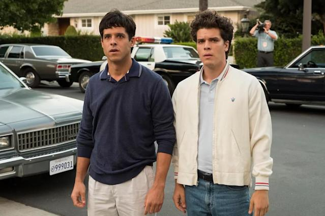 Is it a wig or just good hair? Getting the actors' hair to look just like the real Menendez brothers took major work. (Photo: Justin Lubin/NBC)