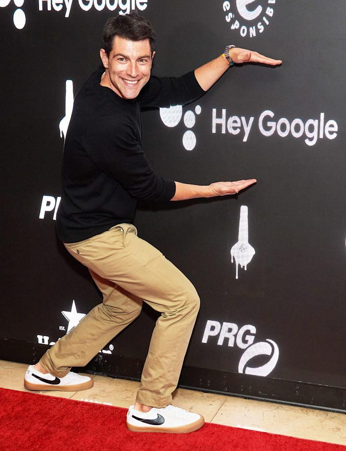 <p>Max Greenfield poses at the MPTF NextGen 2021 summer party on Sept. 12 at the Sunset Tower Hotel in L.A.</p>