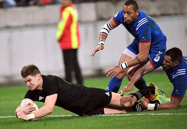 Rugby Union - June Internationals - New Zealand vs France - Westpac Stadium, Wellington, New Zealand - June 16, 2018 - Jordie Barrett of New Zealand scores a try. REUTERS/Ross Setford