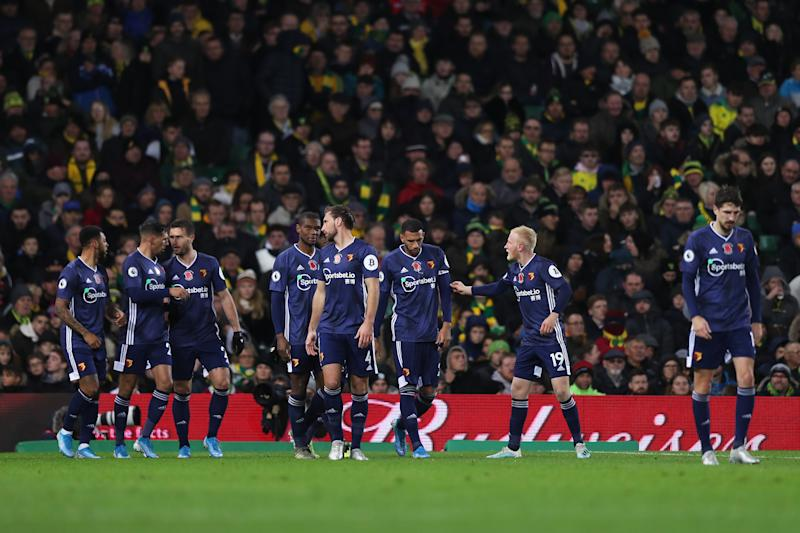Goalscorer Andre Gray celebrates with his Watford teammates. (Photo by Naomi Baker/Getty Images)