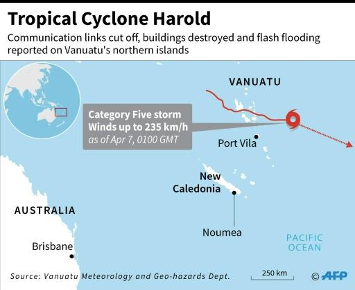 Map locating Tropical Cyclone Harold which swept through Vanuatu's northern provinces overnight on Tuesday as a scale-topping category five superstorm