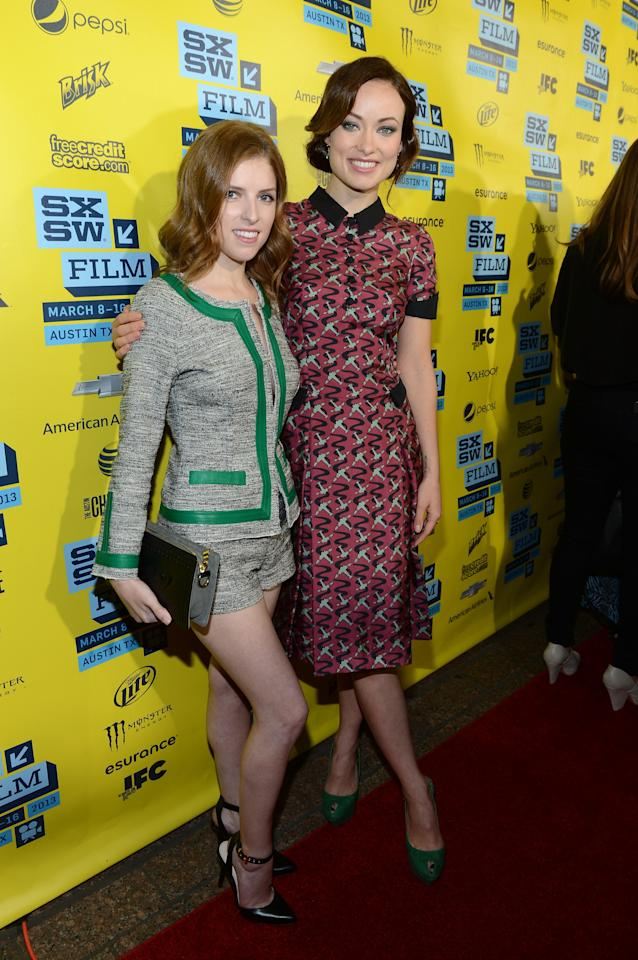 "AUSTIN, TX - MARCH 09:  Actress Anna Kendrick (L) and actress Olivia Wilde attend the World Premiere of ""Drinking Buddies"" at the 2013 SXSW Music, Film + Interactive Festival at the Paramount Theatre on March 9, 2013 in Austin, Texas.  (Photo by Michael Buckner/Getty Images)"