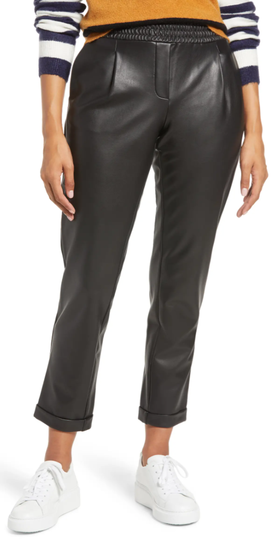 Halogen x Atlantic-Pacific Faux Leather Trousers in Black