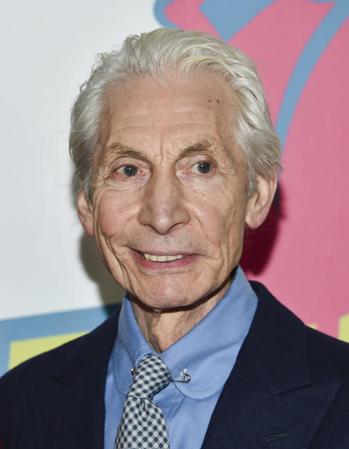 """FILE - Rolling Stones Drummer Charlie Watts attends The Rolling Stones """"Exhibitionism"""" exhibit opening night party on Nov. 15, 2016, in New York. Watts' publicist, Bernard Doherty, said Watts passed away peacefully in a London hospital surrounded by his family on Tuesday, Aug. 24, 2021. He was 80. (Photo by Evan Agostini/Invision/AP, File)"""