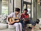 """<p>The friends recently spent some time together in South Africa, where they chilled on the beach before changing into pyjamas so Felton could teach Watson guitar. </p><p>Since posting the adorable snap, more than one million fans have liked the post.</p><p><a href=""""https://www.instagram.com/p/B1WDOOaAiYJ/"""" rel=""""nofollow noopener"""" target=""""_blank"""" data-ylk=""""slk:See the original post on Instagram"""" class=""""link rapid-noclick-resp"""">See the original post on Instagram</a></p>"""