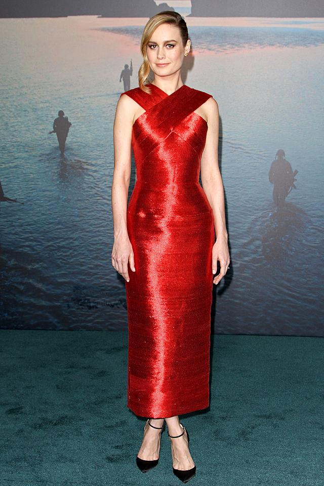 "<p>The Oscar winner turned heads at the Hollywood premiere of <em>Kong: Skull Island </em>in a structured Oscar de la Renta gown. Think Larson, 27, went with red for <a rel=""nofollow"" href=""https://www.yahoo.com/celebrity/stars-celebrate-international-womens-day-201317115.html"">International Women's Day</a>? (Photo: AKM-GSI) </p>"