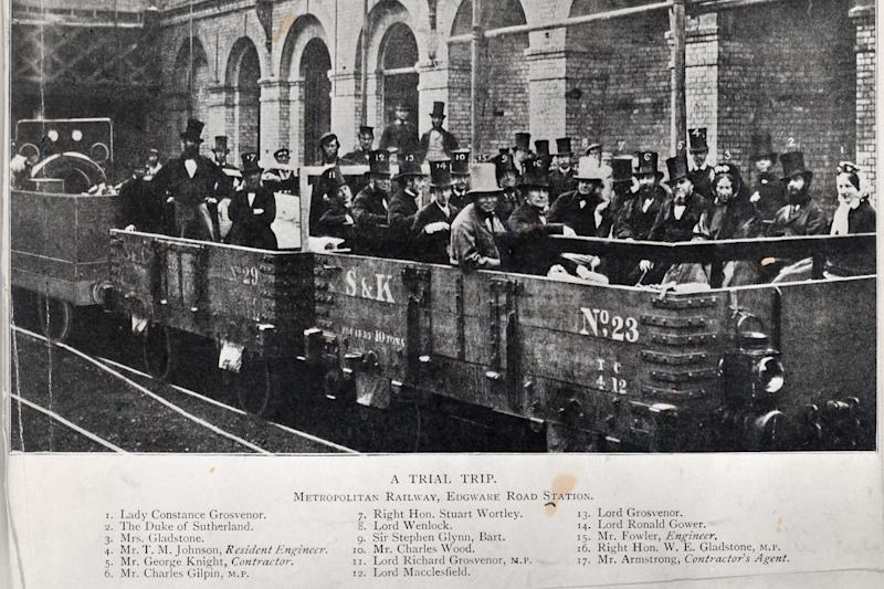 Men in top hats ride the Tube for the first time for an early trial trip on the new Metropolitan line at Edgware Road: London Transport Museum