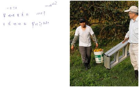 A combination picture shows a scanned copy of a note written by Chen Hong-zhi, 26, who suffers from short-term memory loss, detailing his day on November 7, where he writes, he purchased daily necessities for his stepmother, removed 1998 weeds, visited his friend, Sister Jhang, helped his neighbour, Uncle Shao and slept at 10:28pm (L), and Chen Hong-zhi carrying persimmons collected from Shao's garden, in Hsinchu, Taiwan, November 7, 2018.  REUTERS/Tyrone Siu