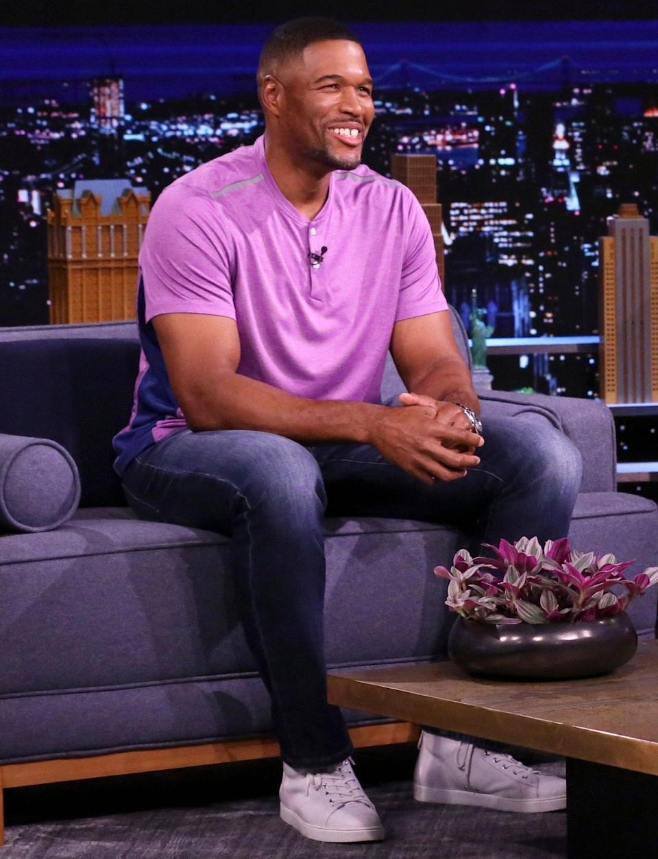 <p>Michael Strahan guest stars on <em>The Tonight Show Starring Jimmy Fallon</em> on Monday in N.Y.C.</p>