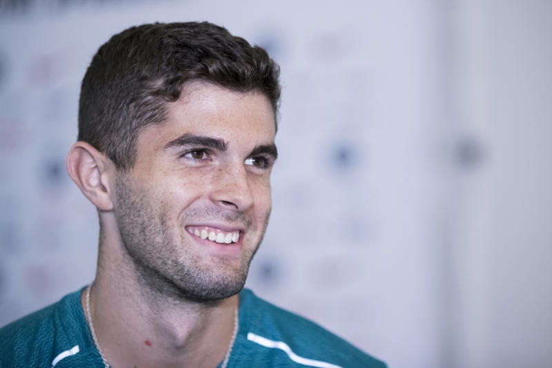 SHORT HILLS, NJ- SEPTEMBER 04: Christian Pulisic #10 of the United States Men's National Team smiles as he answers questions from reporters during the interview session leading up to the Friendly match between the United States and Mexico. The interview was held at the Hilton Hotel in Shortt Hills, NJ on September 04, 2019, USA. (Photo by Ira L. Black/Corbis via Getty Images)