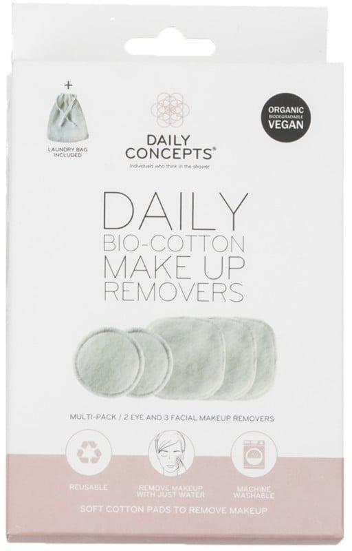 <p>Because of how wasteful single-use makeup removing wipes can be, these <span>Daily Concepts Daily Bio-Cotton Makeup Removers</span> ($12) are a good swap when you need something to deeply cleanse your skin of makeup, dirt, and oil. All you have to do is wet them with warm water (they each have a gentle side and an exfoliating side) and combine them with a cleanser or makeup remover, and you can throw them in the laundry when you're done.</p>
