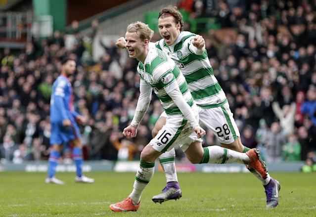 "Football Soccer - Celtic v Inverness Caledonian Thistle - Ladbrokes Scottish Premiership - Celtic Park - 20/2/16 Celtic's Gary Mackay Steven (L) celebrates with Erik Sviatchenko (R) after scoring their first goal Action Images via Reuters / Graham Stuart Livepic EDITORIAL USE ONLY. No use with unauthorized audio, video, data, fixture lists, club/league logos or ""live"" services. Online in-match use limited to 45 images, no video emulation. No use in betting, games or single club/league/player publications. Please contact your account representative for further details."