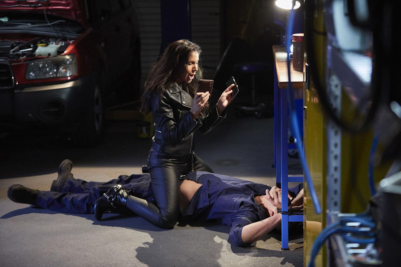 <p>She turns up at the garage and attacks Justin, blaming him for her money going missing.</p>