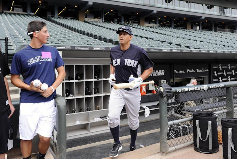 New York Yankees' Alex Rodriguez leaves the dugout to take batting practice before a baseball game against the Chicago White Sox, Tuesday, Aug. 6, 2013 in Chicago. (AP Photo/David Banks)