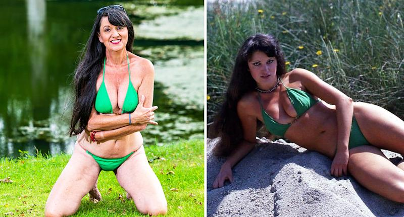 Suzy Monty wears the same string bikini, in photos taken decades apart. [Photo: SWNS]