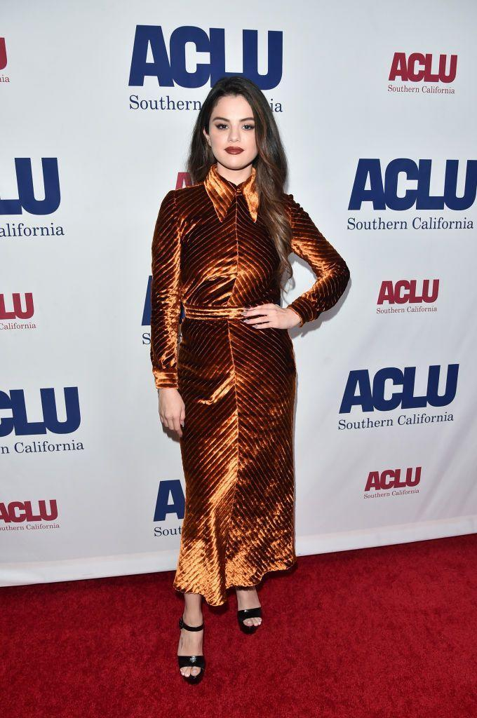 <p>The 'Lose You To Love Me' star wore a velvet midi dress with an extreme pointed collar to ACLU SoCal's Annual Bill of Rights dinner.</p>