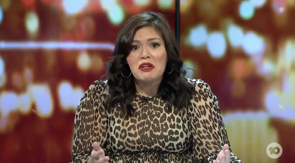 Nakkiah Lui is pictured on Network Ten's The Project. She pleaded with Australians to stand with Indigenous people.