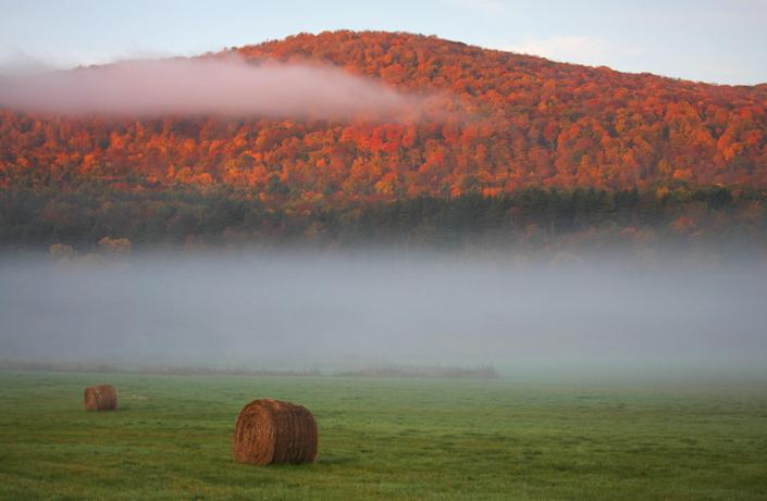 A misty autumn morning in the Berkshire Hills.