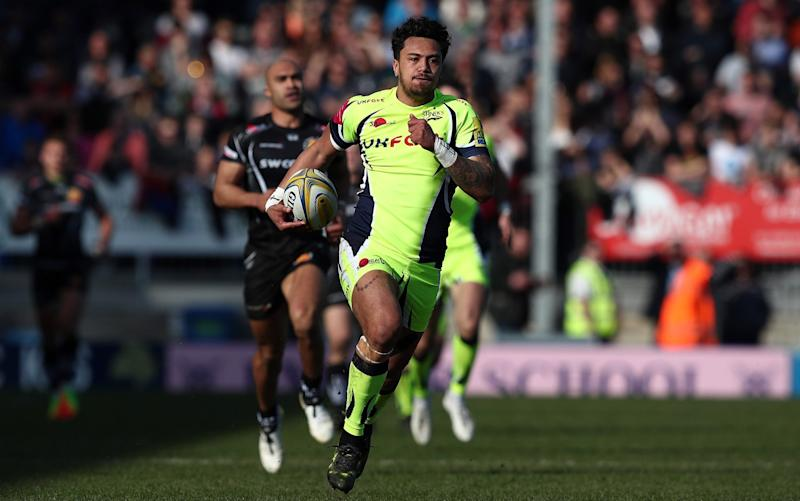 Denny Solomona breaks to score a try for Sale against Exeter last month - Rex Features