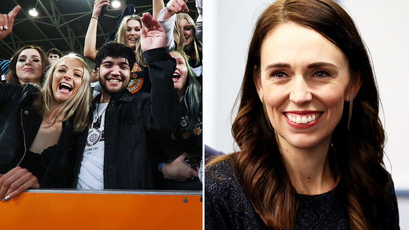 Jacinda Ardern, pictured here before a massive crowd turned out for the Highlanders and Chiefs game.