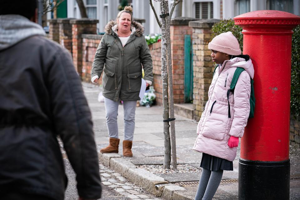 WARNING: Embargoed for publication until 00:00:01 on 20/04/2021 - Programme Name: EastEnders - April-June 2021 - TX: 29/04/2021 - Episode: EastEnders - April-June 2021- 6263 (No. 6263) - Picture Shows: ***EMBARGOED TILL TUESDAY 20TH APRIL 2021*** Mitch Baker (ROGER GRIFFITHS), Bailey Baker (KARA-LEAH FERNANDES), Karen Taylor (LORRAINE STANLEY) - (C) BBC - Photographer: Kieron McCarron/Jack Barnes
