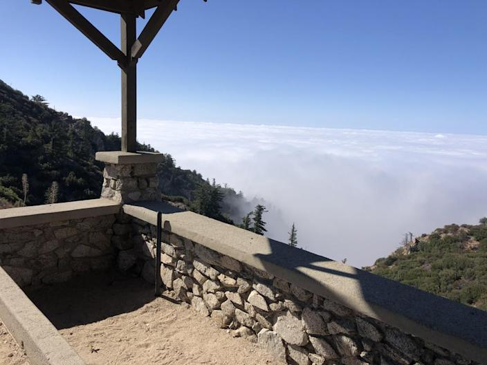 Clouds obscure the view from Inspiration Point above Altadena.