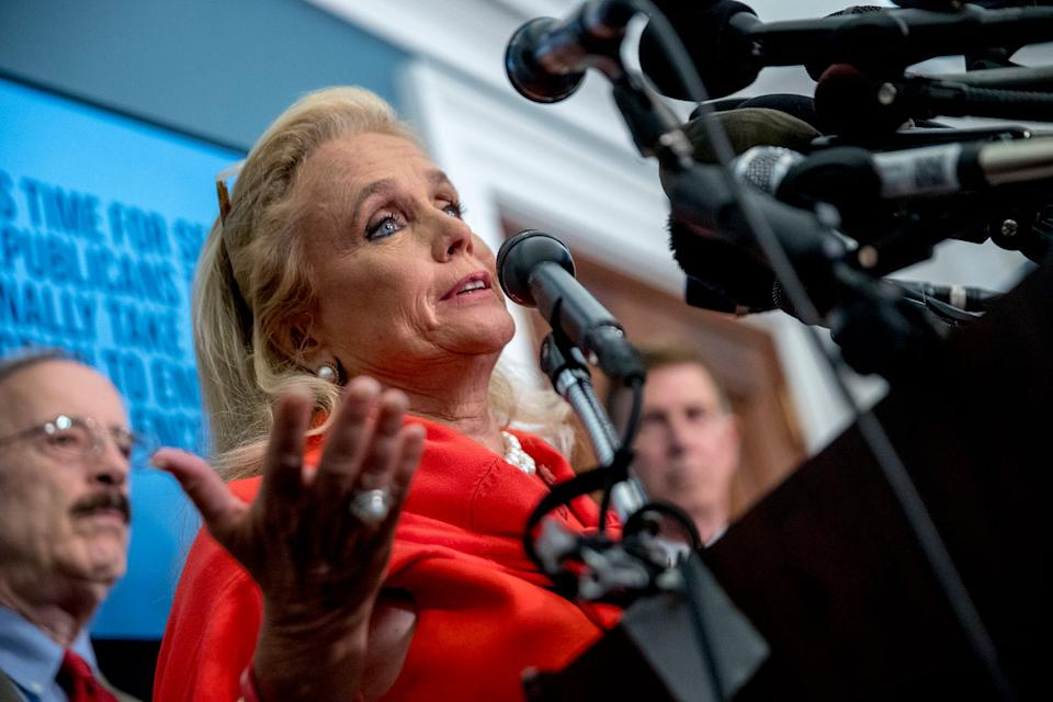 Rep. Debbie Dingell, D-Mich., speaks at a news conference calling for Senate action on H.R. 8 - Bipartisan Background Checks Act of 2019 on Capitol Hill in Washington, Aug. 13, 2019. (Photo: Andrew Harnik/AP)