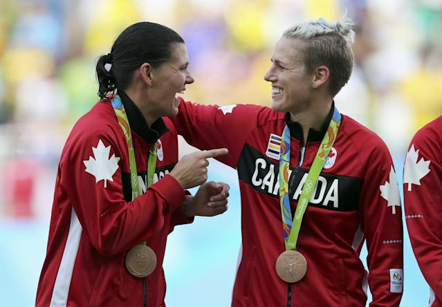 "<p>After winning bronze in London, the Canadian women's national soccer team waited four long years for another shot at Olympic gold. The team fell short of its goal and wound up settling for bronze with a 2-1 win over Brazil. Nevertheless, the Canadian women went into the Olympics ranked No. 10 in the world by FIFA. Their performance in Rio moved them up to No. 4, the team's highest ranking ever. Click <a href=""https://ca.news.yahoo.com/canada-sets-lofty-womens-soccer-194431063.html"" data-ylk=""slk:here"" class=""link rapid-noclick-resp newsroom-embed-article"">here</a> to read more. </p>"
