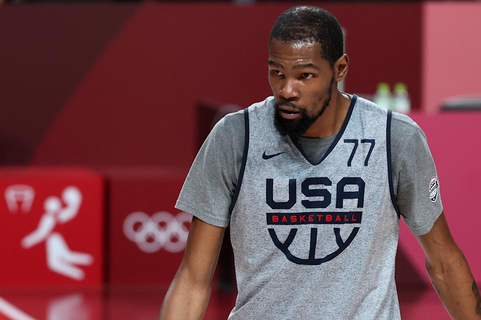 Kevin Durant #7 of Team USA practices at Saitama Super Arena ahead of the Tokyo 2020 Olympic Games on July 22, 2021 in Tokyo, Japan. (Photo by Gregory Shamus/Getty Images)