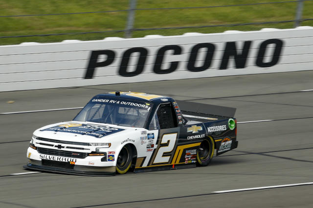 Sheldon Creed drives truck number 2 during the NASCAR Truck Series auto race at Pocono Raceway, Sunday, June 28, 2020, in Long Pond, Pa. (AP Photo/Matt Slocum)
