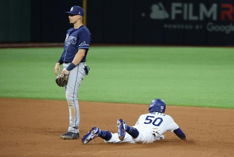 Los Angeles star Mookie Betts steals second base in the Dodgers' World Series game-one victory over the Tampa Bay Rays