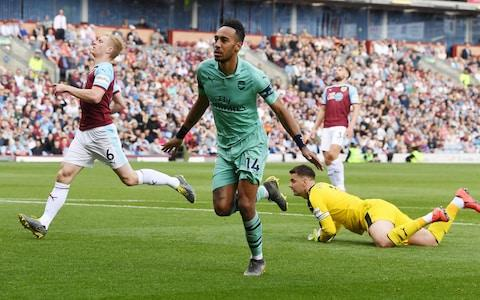 Pierre-Emerick Aubameyang celebrates scoring the 1st Arsenal goal during the Premier League match between Burnley FC and Arsenal - Credit: GETTY IMAGES