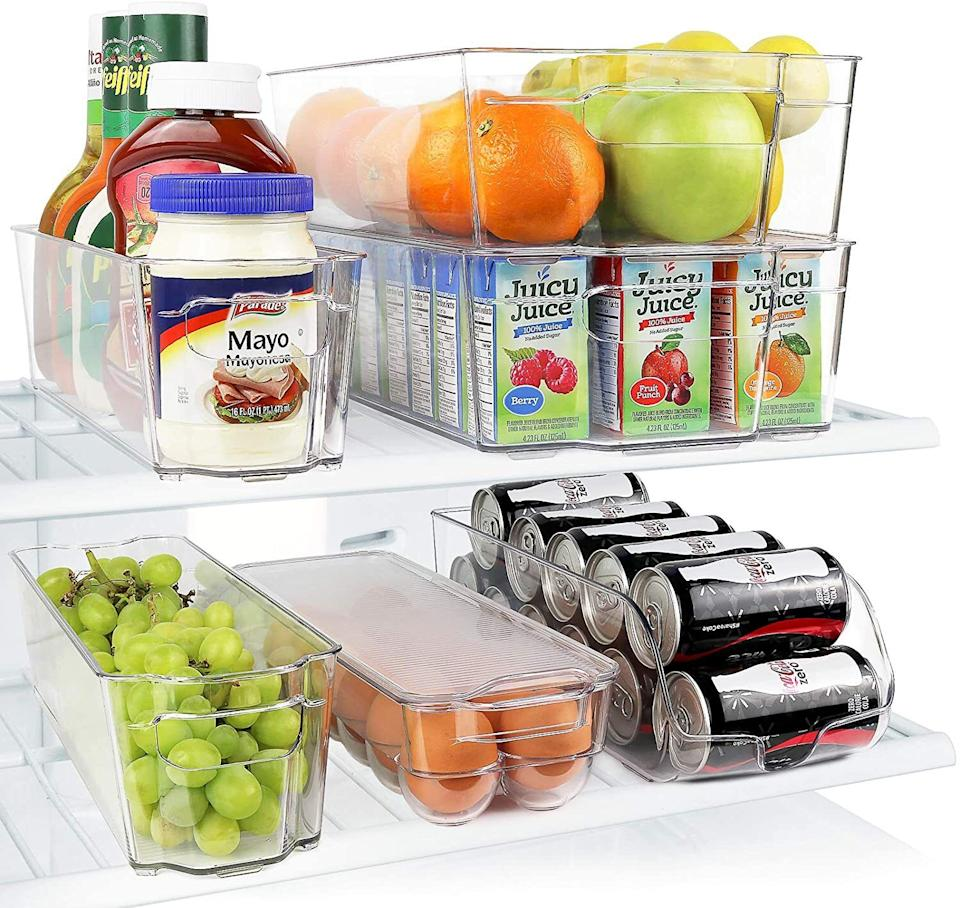 """With these in your fridge, you'll never reach in for a seltzer and have three bags of shredded cheese and an apple fall out on you again. The transparency of these is also great because it reminds you to eat your fruits and veggies before they go bad!<br /><br /><strong>Promising review:</strong>""""Excellent organization system! I once opened the fridge often, always looking for something I hadn't seen the last time I checked. The thing is — I often found something new because it just wasn't organized in a functional way.<strong>Now, with this system, I find what I'm looking for the first time. And when a bin is empty, I know I need to buy more of that product</strong>and just ask my smart home to add that item to my shopping list. Very grateful for the<strong>sense of calm and control that this fridge organization system has given me</strong>, and for all of the food that is no longer going bad in the back of the fridge!"""" —<a href=""""https://www.amazon.com/gp/customer-reviews/R37JTB87F8BX1G?ASIN=B014Q8AZRO&ie=UTF8&linkCode=ll2&tag=huffpost-bfsyndication-20&linkId=144564d20ef2c4a42c4694aac6656aca&language=en_US&ref_=as_li_ss_tl"""" target=""""_blank"""" rel=""""noopener noreferrer"""">Chelsea T.</a><br /><br /><strong>Get a set of six from Amazon for<a href=""""https://www.amazon.com/Greenco-GRC0250-Refrigerator-Stackable-Organizer/dp/B014Q8AZRO?&linkCode=ll1&tag=huffpost-bfsyndication-20&linkId=1108854b87bfd8a51909f0de6ed9bf1a&language=en_US&ref_=as_li_ss_tl"""" target=""""_blank"""" rel=""""noopener noreferrer"""">$34.99</a>.</strong>"""