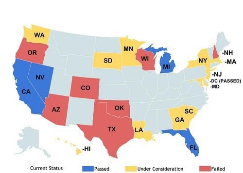 U.S. map showing status of driverless car legislation by state