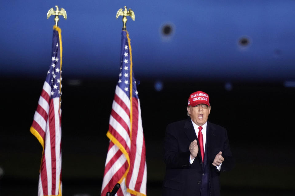 President Donald Trump arrives to speak at a campaign rally on Sunday, Nov. 1, 2020, at Richard B. Russell Airport in Rome, Ga. (AP Photo/Brynn Anderson)